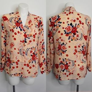 Anthropologie Floral Long Sleeved Blouse EUC